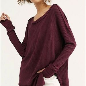 FREE PEOPLE Wine North Shore Thermal Tunic Top